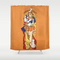 sailor venus Shower Curtains featuring Her Codename - Sailor Venus nouveau by eriphyle