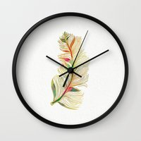 feather Wall Clocks featuring Feather by Klara Acel