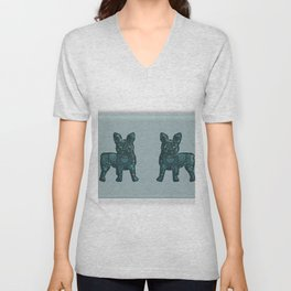 Patches French Bulldog Twins Unisex V-Neck