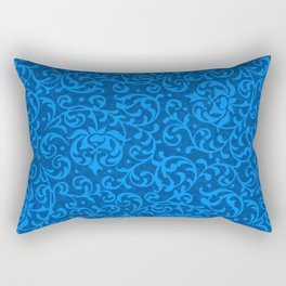 Blue Tudor Damask Rectangular Pillow