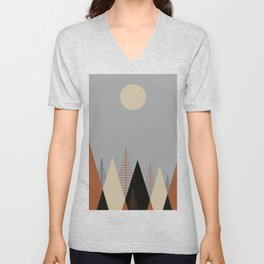 Minimalist Scandinavia Abstract Concept Forest Dawn Brown Grey Neutral Unisex V-Neck