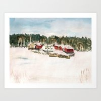 finland Art Prints featuring Finland village by Nadezhda Shoshina