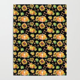 Pumpkin black pattern Poster