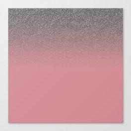 Modern faux silver glitter blush coral gradient Canvas Print