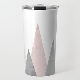 BLUSH MARBLE GRAY GEOMETRIC MOUNTAINS Travel Mug