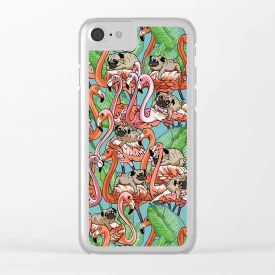 Flamingo Party Clear iPhone Case