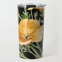 California Poppies on Charcoal Black Travel Mug