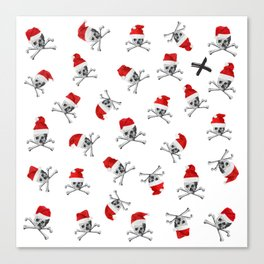 Christmas Santa Pirate Skulls on White Canvas Print