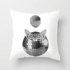 Disco kitty Throw Pillow