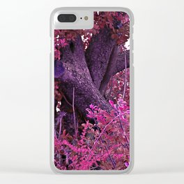 Pink red alien planet tree bright Clear iPhone Case