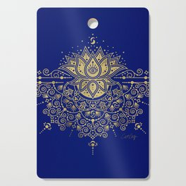 Sacred Lotus Mandala – Navy & Gold Palette Cutting Board