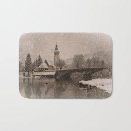 Lake Bohinj With The Church of St John the Baptist Bath Mat