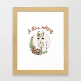 I Llove Nursing Llama Framed Art Print