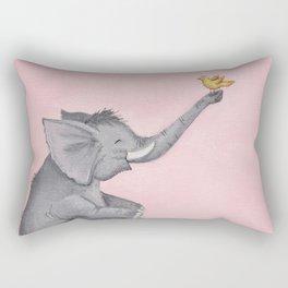 A Little Birdie Told Me - Elephant and Bird Rectangular Pillow
