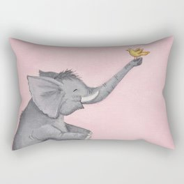 A Little Birdie Told Me - Elephant and Bird Rectangular Pillow
