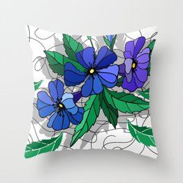 Beautiful abstract flowers in blue colors Throw Pillow