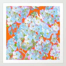 CUMIN ORANGE COLOR & WHITE LACE FLORAL GARDEN Art Print