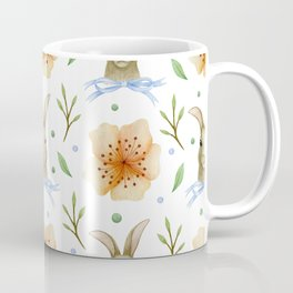 Easter bunnies and spring flowers all over print Coffee Mug