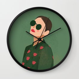Fashion girl in green Wall Clock