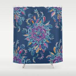 Deep Summer - Watercolor Floral Medallion Shower Curtain