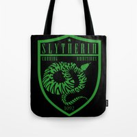slytherin Tote Bags featuring Slytherin Crest by machmigo