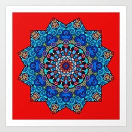 Mandala - Red Velvet Art Print