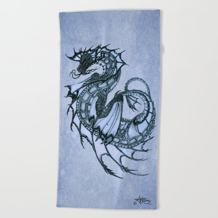 """Tsunami"" by Amber Marine ~ Sea Dragon (Ice Blue Version) ~ Graphite Illustration, (Copyright 2005) Beach Towel"