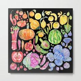 Rainbow of Fruits and Vegetables Dark Metal Print