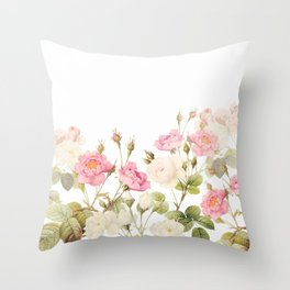 Vintage & Shabby Chic - Sepia Roses Flower Garden Throw Pillow