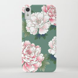 Japanese Vintage Pink Peonies Green Leaves Kimono Pattern iPhone Case