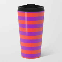 Even Horizontal Stripes, Red and Purple, M Travel Mug