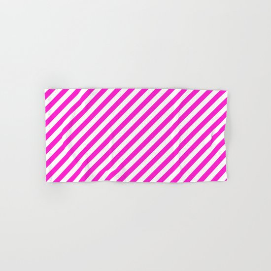 Diagonal Stripes (Hot Magenta/White) Hand & Bath Towel