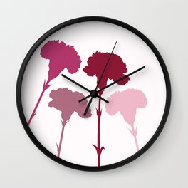 Carnation Silhouettes Pinks & Reds Wall Clock