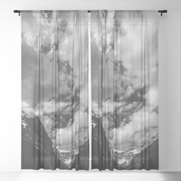 Lake Louise Black and White Minimalism Photography | Black and White | Photography Sheer Curtain