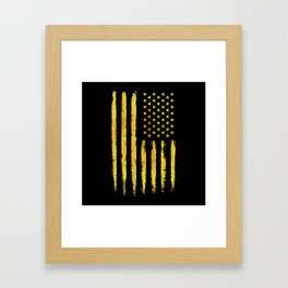 Gold grunge american flag Framed Art Print