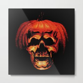 Halloween II Pumpkin Skull Stained Glass Metal Print