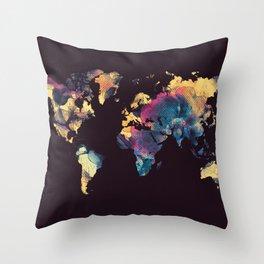 world map 79 yellow black Throw Pillow