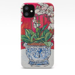 Orchid in Blue-and-white Bird Pot on Red after Matisse iPhone Case