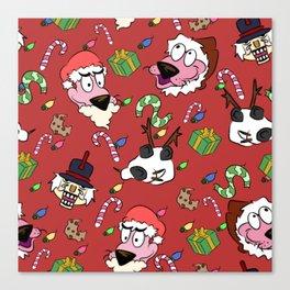Pink Christmas Dog Canvas Print