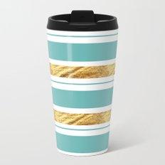 Gold and Aqua Blue Stripes Metal Travel Mug