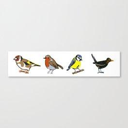 British Birds - Lino Print Illustrations Canvas Print
