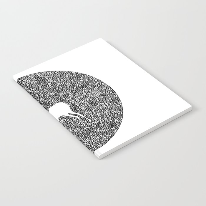 Deer Mandala 2 black-white Notebook