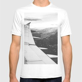 Mountain State // Colorado Rocky Mountains off the Wing of an Airplane Landscape Photo T-shirt