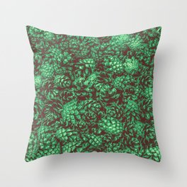Scent of Pine RETRO GREEN / Photograph of pine cones Throw Pillow