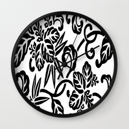 Japanese Floral White & Black Wall Clock