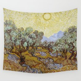 Vincent van Gogh - Olive Trees with Yellow Sky and Sun Wall Tapestry