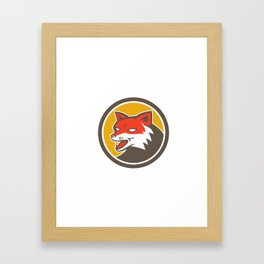 Red Fox Head Growling Circle Retro Framed Art Print