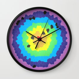 Round mosaic stained glass window with colored circles and white background Wall Clock