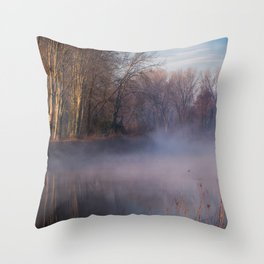 Morning fog on the river Sile Throw Pillow