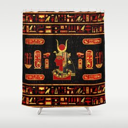 Hathor Egyptian Ornament Gold and Red glass Shower Curtain